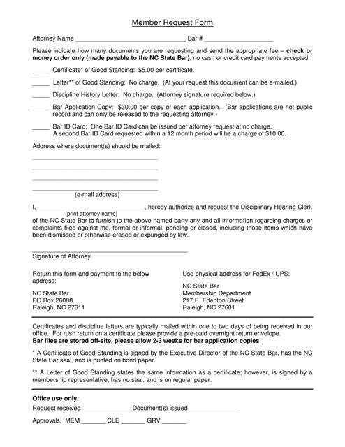 """Member Request Form"" - North Carolina Download Pdf"
