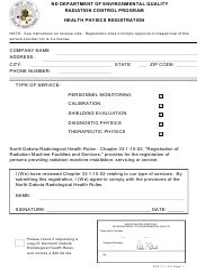 "Form RCP-7 ""Health Physics Registration"" - North Dakota"