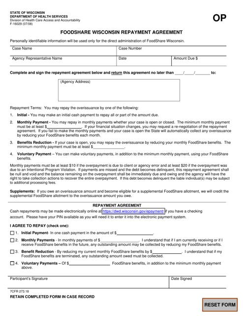 Form F-16029  Printable Pdf