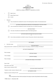 """Form 4 """"Order Allowing Person to Observe Autopsy"""" - Queensland, Australia"""
