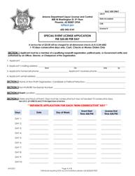 """Special Event License Application"" - Arizona"