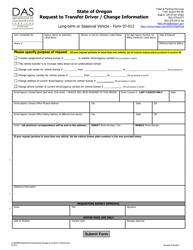 "Form 07-012 ""Request to Transfer Driver/Change Information"" - Oregon"