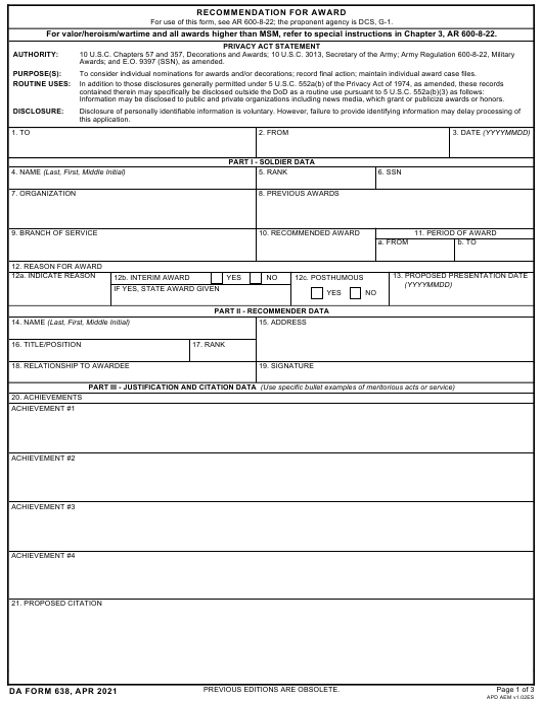 DA Form 638  Printable Pdf