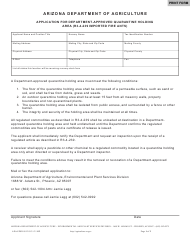 """Form ADA-EPSD0912 """"Application for Department-Approved Quarantine Holding Area (R3-4-239 Imported Fire Ants)"""" - Arizona"""