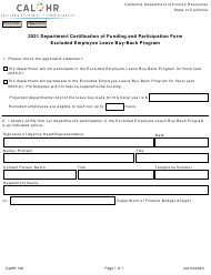"""Form CALHR749 """"Department Certification of Funding and Participation Form - Excluded Employee Leave Buy-Back Program"""" - California, 2021"""