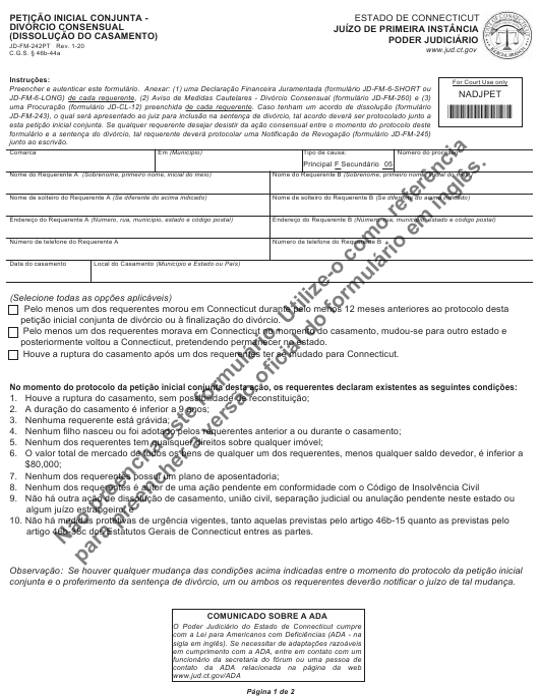 Form JD-FM-242PT  Printable Pdf
