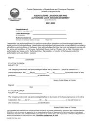 "Form FDACS-15107 ""Aquaculture Leaseholder and Authorized User Acknowledgement"" - Florida, 2022"
