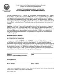 "Form FDACS-01755 ""School Programs Emergency Operations Costs Reimbursement Program Assurances"" - Florida"
