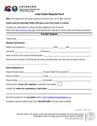 """Load Letter Request Form"" - Colorado"