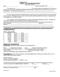 """Benefit Data Information Sheet"" - Hancock County, Maine"