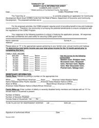 """Benefit Data Information Sheet"" - Cumberland County, Maine"