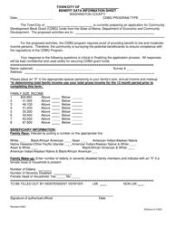 """Benefit Data Information Sheet"" - Washington County, Maine"