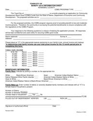 """Benefit Data Information Sheet"" - Kennebec County, Maine"