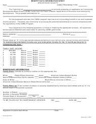 """Benefit Data Information Sheet"" - Aroostook County, Maine"