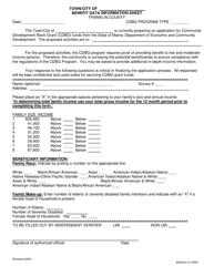 """Benefit Data Information Sheet"" - Franklin County, Maine"