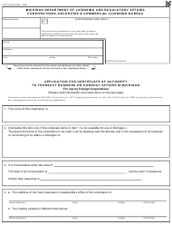 """Form CSCL/CD-560 """"Application for Certificate of Authority to Transact Business or Conduct Affairs in Michigan for Use by Foreign Corporations"""" - Michigan"""