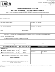 """Form CSCL/LCL-013 """"Mortuary Science Licensee Request for Name and/or Address Change"""" - Michigan"""