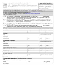 "Form A (MO780-1479) ""Application for Nondomestic Permit Under Missouri Clean Water Law"" - Missouri"