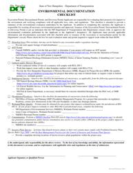 """Environmental Documentation Checklist"" - New Hampshire"