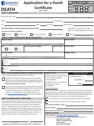 """Form HD02080F """"Application for a Death Certificate"""" - Pennsylvania"""