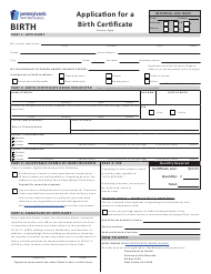 """Form H105.102 """"Application for a Birth Certificate"""" - Pennsylvania"""