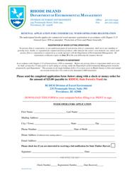 """Renewal Application for Commercial Wood Operators Registration"" - Rhode Island"