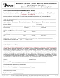 "DHEC Form 2735 ""Application for South Carolina Waste Tire Hauler Registration"" - South Carolina"