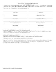 "DSS Form 3249 ""Newborn Verification of Application for Social Security Number"" - South Carolina"