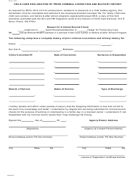 "Form OLA103 ""Child Care Declaration of Prior Criminal Conviction and Military History"" - South Dakota"