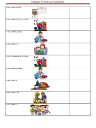 "Sample ""Preschool Daily Schedule"""