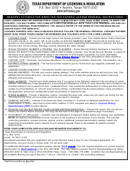 """TDLR Form LIC003 """"Request to Executive Director for Expired License Renewal"""" - Texas"""