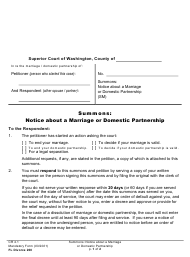 """Form FL Divorce200 """"Summons: Notice About a Marriage or Domestic Partnership"""" - Washington"""