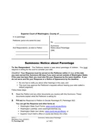 """Form FL Parentage300 """"Summons: Notice About Parentage"""" - Washington"""