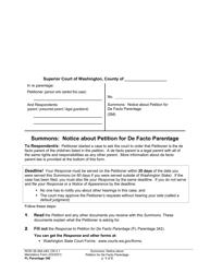 """Form FL Parentage340 """"Summons: Notice About Petition for De Facto Parentage"""" - Washington"""