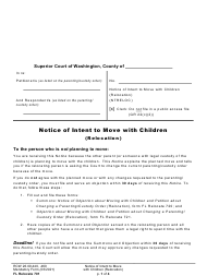 """Form FL Relocate701 """"Notice of Intent to Move With Children (Relocation)"""" - Washington"""
