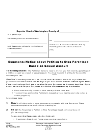 """Form FL Parentage380 """"Summons: Notice About Petition to Stop Parentage Based on Sexual Assault"""" - Washington"""