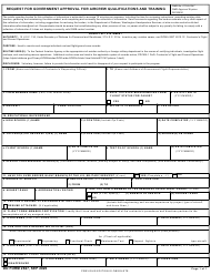 """DD Form 2627 """"Request for Government Approval for Aircrew Qualifications and Training"""""""