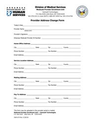 "Form DMS-673 ""Provider Address Change Form"" - Arkansas"