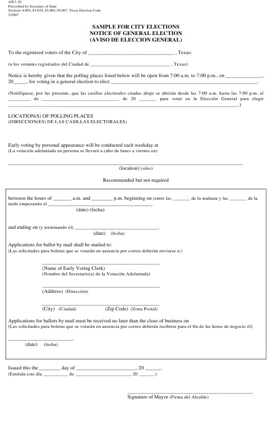 Form AW1-10  Printable Pdf