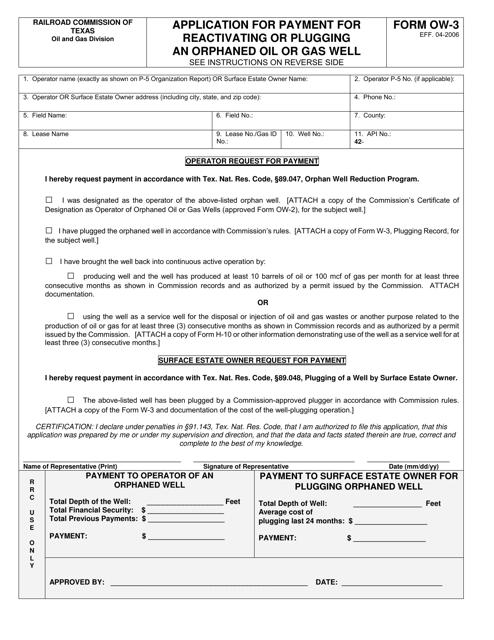 Form OW-3  Printable Pdf
