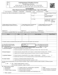 """DWS-UI Form 1 """"Status Report"""" - Utah"""