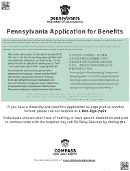 """Form PA600 """"Application for Benefits"""" - Pennsylvania"""