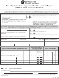 """Form PA1935 """"Simple Application for the Supplemental Nutrition Assistance Program (Snap) for Elderly or Disabled Households"""" - Pennsylvania"""