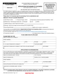 """Form BMV4826 """"Application for Disability Placards"""" - Ohio"""