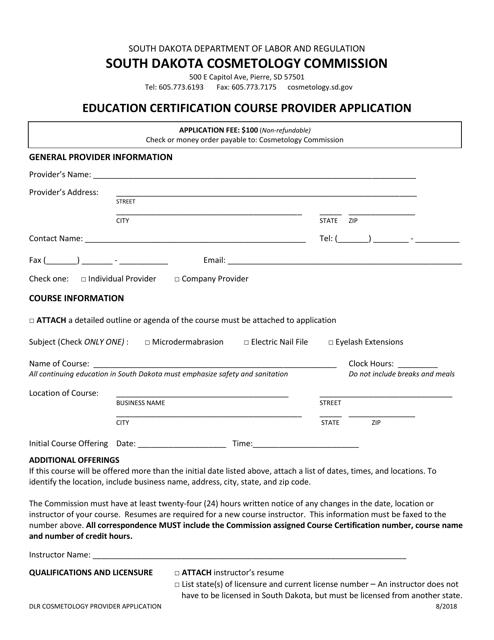 """Education Certification Course Provider Application"" - South Dakota Download Pdf"