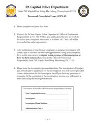 """Form GSPS-85 """"Personnel Complaint Form"""" - Pennsylvania"""