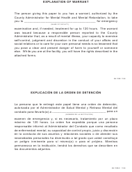 "Form MH783B ""Explanation of Warrant"" - Pennsylvania (English/Spanish)"