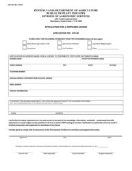 "Form API-203 ""Application for a Fertilizer License"" - Pennsylvania"