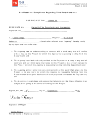 """Sample Form 3-2 """"Certification of Compliance Regarding Third Party Contracts"""" - Tennessee"""