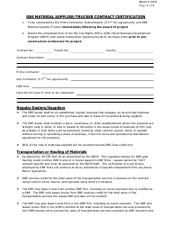 """Form 8-8B """"Dbe Material Supplier/Trucker Contract Certification"""" - Tennessee"""